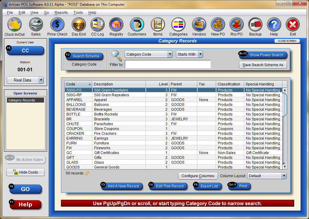Category List Screen