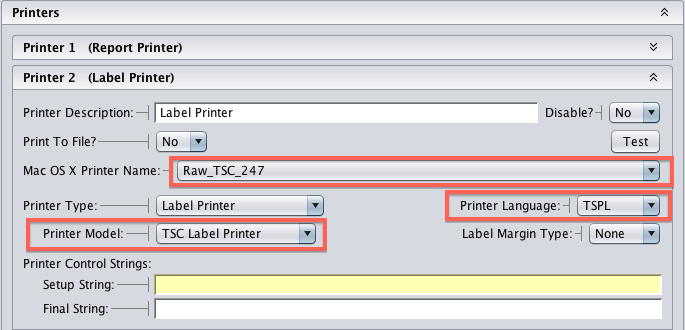 Artisan TSC Printer Settings