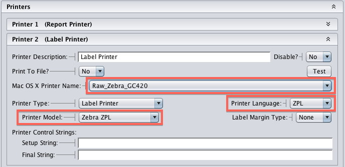 Artisan Zebra Printer Settings