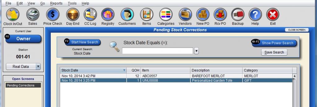 Pending Stock Correction