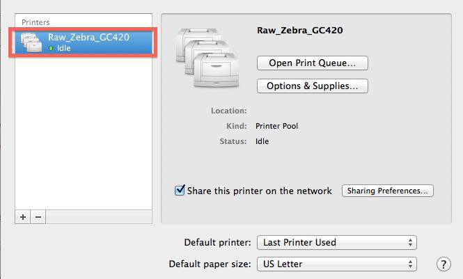 See printer in Mac System settings