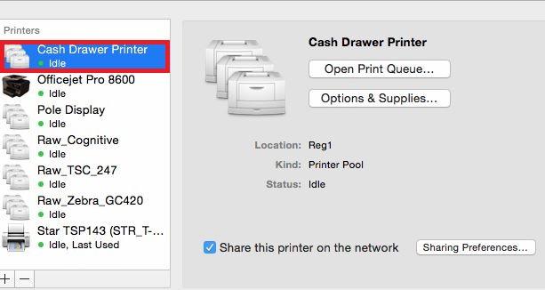 Cash Drawer Printer on List