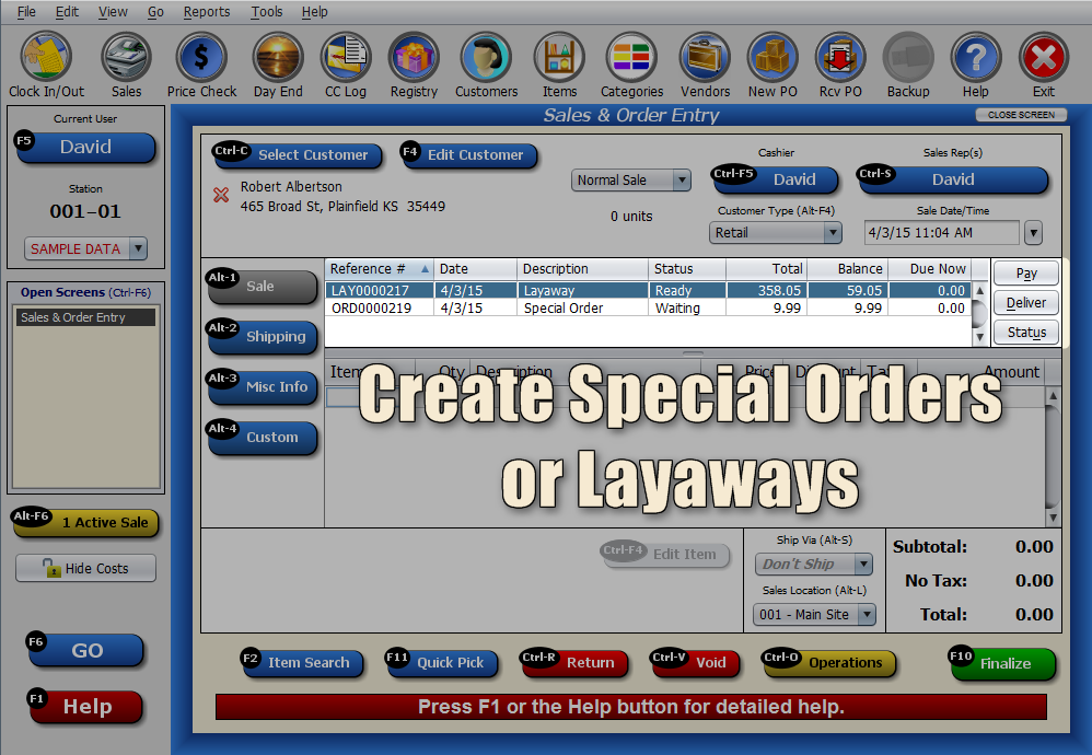 Special Orders and Layways