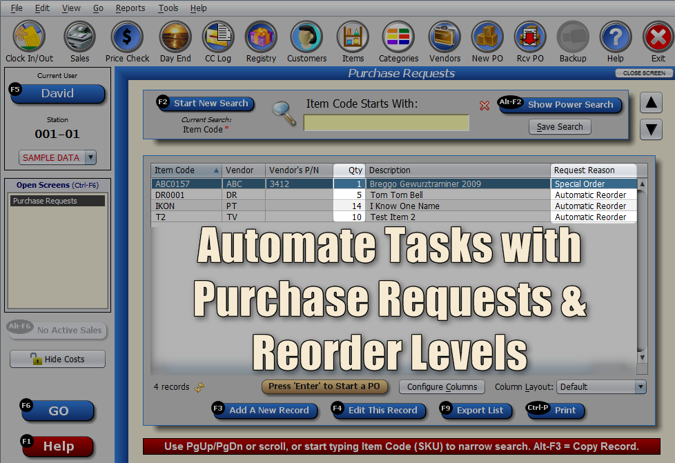 Purchase Requests & Reorder Levels